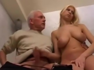 Old Man Helping Blonde Teen