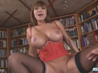 Busty Asian MILF Ava Devine sucks with an increment of fucks a hard cock!
