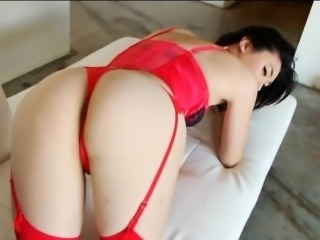 Hot asian shemale Yuri Myeon to red lingerie solo play