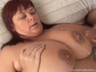 Gorgeous older fatty enjoys a hard shafting and cum all over her lovely chunky tits