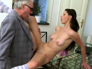 Lusty honey is giving mature instructor a lusty blowjob session
