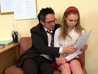 Agreeable old teacher is drilling sweet chick from behind