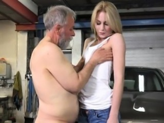Juicy young minx enjoys getting old rod in pussy