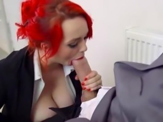 Redhead Jasmine James sucks monster cock & gets facialized