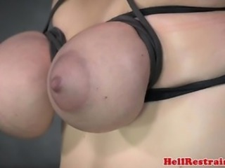 Breastbound sub restrained overhead fuck machine