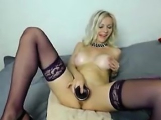 Blonde Masturbating  Stockings Toy Webcam