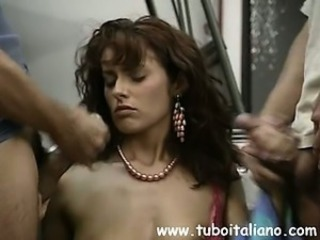 Brunette Cumshot European Italian  Pornstar Threesome