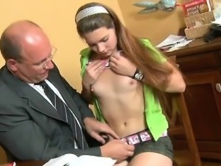Horny older teacher bonks naughty babe senseless