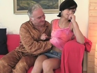 Horny old fucker enjoys lovemaking with young impressive tantalize