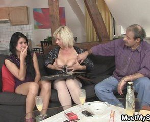 Mature Old and Young Teen Threesome