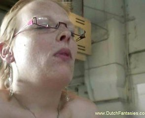Blonde Dutch MILF With Glasses Fuck