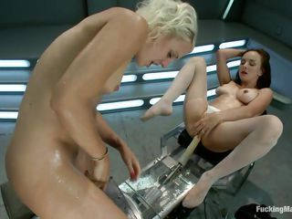 Squirt queen Cytherea and Dylan Ryan love fucking machines. Dylan rides one dildo while Cytherea lays back and takes another. Soon Dylan is dripping with Cytherea's cum. It's not long before she squirts again, then Dylan returns the favor, soaking Cytherea. With tools like this, who needs a man?
