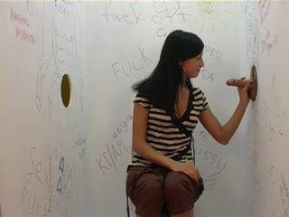 Hot Brunette In Gloryhole Action