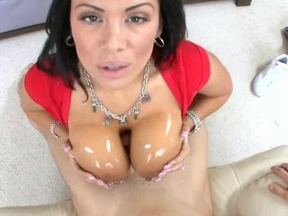 Amazing Brunette  Oiled Pornstar Pov Tits job
