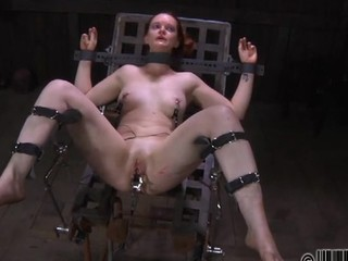 Pretty sweetheart's sweet nipples gets painful torturing
