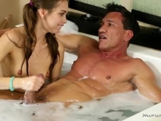 slutty riley plays with cock