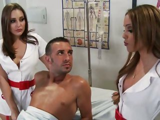 Despondent nurses Melanie Jane & Gracie Glam have a threesome