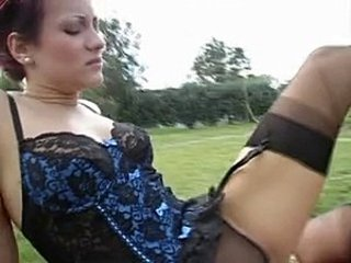 Corset Lingerie  Outdoor Stockings Threesome