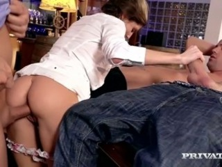 Dark haired sweet chick Gina Gerson gets gangbanged in billiard room tiring