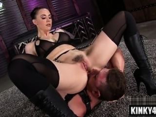 Facesitting Femdom Lingerie Licking  Slave Stockings