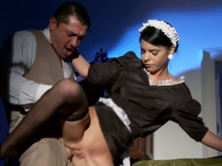 Vintage looking brunette maid serves their way landlord with blowjob