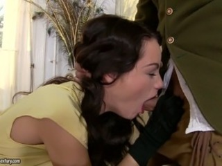Nasty brunette chick Sophie Lynx gets ass fucked by a oversexed dude