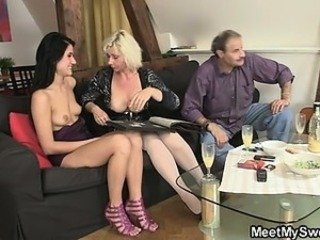 Family Mature Mom Old and Young Teen Threesome