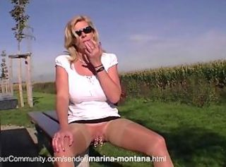 German MILF Marina Montana with pirced pussy pissing in mention