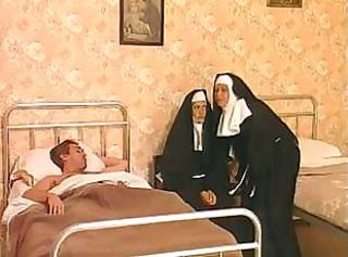 These two nuns are liking that hard cock and fucking transmitted to ass