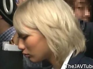 Japanese blonde AIKA groped with a institute bus and abused with a institute ...