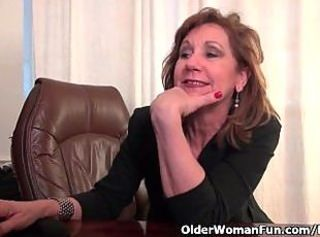 Office granny in pantyhose works her old pussy