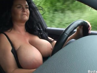 Boobs hanging while driving