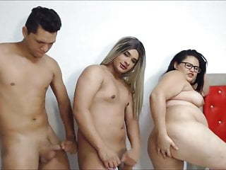 Girl Boy and Tranny trio webcam show prepare bbw girl ass