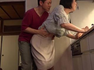 Asian Family Kitchen Mature Mom Old and Young