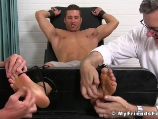 Restrained jock tickled and played with by his horny friends Sex Tubes