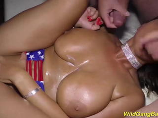 Big Tits Gangbang  Natural Oiled