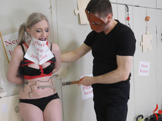 Petite bound blond tied up for stomach punching and anal Sex Tubes