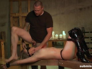 Master inflicts pain with hot wax, and a blind deepthroat Sex Tubes
