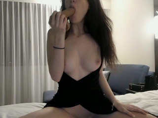Getting Frisky in a Hotel, Sucking a Dildo and Undressing