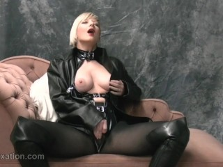 Tow-haired rubs big tits with leather masturbates in pantyhose femdom with whip