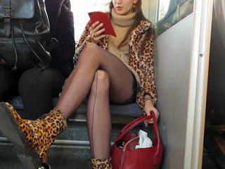 Upskirt undeceiving shots and pantyhose on train and bus Sexual relations Tubes