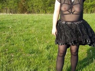 Amateur Lingerie Outdoor Wife