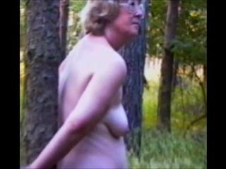 Mature milf Amy handcuffed naked to a tree Sex Tubes