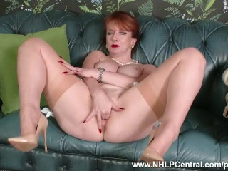 Redhead Milf masturbates in retro chic underclothing seamed nylon writer heels