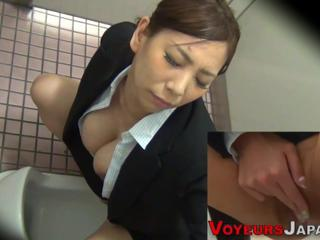 Asian Big Tits HiddenCam Masturbating  Toilet Voyeur