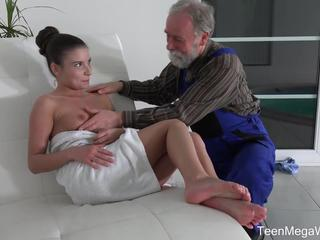 TeenMegaWorld -Old n Young- Old man cums into a fresh brashness