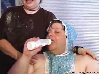 The Clown The Midget And The Big Baby infinitesimal dwarf cumshots swallow