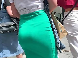 Blonde With Banging Ass Green Skirt