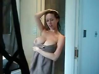 Camera In The Shower Busty Maw Caught Masturbating
