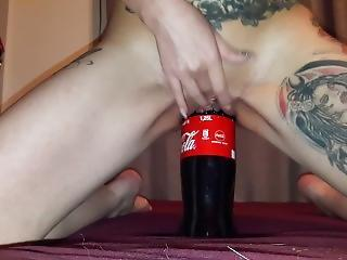 Slut Lucy Riding Big Coke Bottle With Her Sloopy Cunt